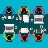 Drużynowy pracy zespołowej Biznesowego spotkania pojęcie, mieszkanie styl, Infographics biznes, wektor Zdjęcia Stock