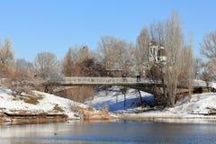 Druzba jeziora park w pogodnym zima dniu, Sofia, Bułgaria Zdjęcie Stock
