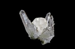Druze of crystals on black. Druze of crystals calcyte, quartz from Arnenia Stock Photography