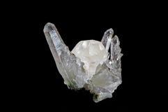 Druze van kristallen op zwarte stock fotografie