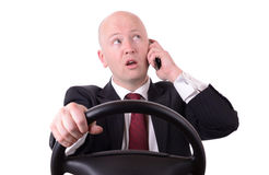 Drving mobile talk Stock Images