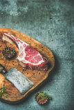 Dry aged raw beef rib eye steak, copy space Royalty Free Stock Image