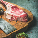 Dry aged raw beef rib eye steak, square crop Stock Image