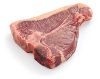 Dry aged t-bone steak, raw beef. Isolated on white background Royalty Free Stock Image