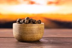 Dry allspice berries with autumn field behind. Lot of whole dry brown allspice berries with wooden bowl with autumn field and sunset in background royalty free stock images