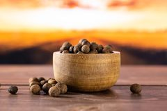 Dry allspice berries with autumn field behind. Lot of whole dry brown allspice berries with wooden bowl with autumn field and sunset in background royalty free stock photo