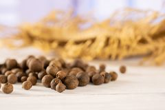Dry allspice berries with blue window. Lot of whole dry brown allspice berries on jute cloth with blue window in background stock image