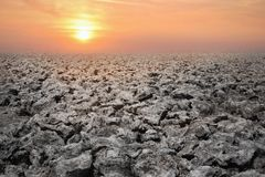 Dry apocalyptic dead landscape and sun heat royalty free stock photos