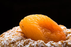 Dry apricot on the cake with sugar powder on the black background Royalty Free Stock Photo