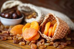 Dry apricots and various dry fruit Royalty Free Stock Photography