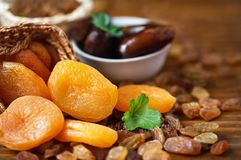 Dry apricots and various dry fruits Stock Photos