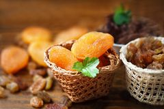 Dry apricots and various dry fruits Stock Image