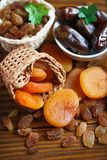 Dry apricots and various dry fruits Royalty Free Stock Image