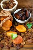 Dry apricots and various dry fruits Royalty Free Stock Images