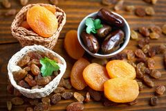 Dry apricots and various dry fruits Stock Photo