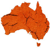 Dry Australian Continent. An isolated Australian continent made of dry cracked earth do to lack of water supply Stock Photos