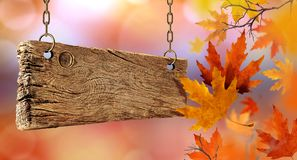 Dry autumn leaves falling from the air and wooden board. royalty free stock photo