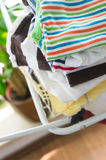 Dry baby clothes. On laundry lines royalty free stock photo