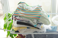 Dry baby clothes. On laundry lines stock image
