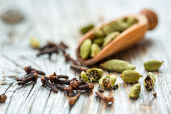 Dry beans cardamom and clove buds. Royalty Free Stock Photos