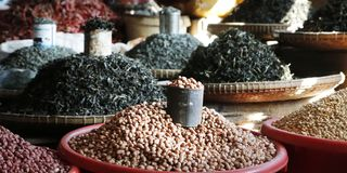 Dry beans,cereals, sold in market. In asia stock photos
