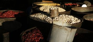 Dry beans,cereals, sold in market. In asia royalty free stock photos