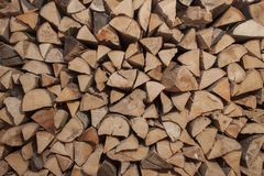Dry beech wood ready for heating. Wooden logs stacked on top of each other. Stack of wood Stock Image