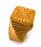 Dry biscuit. Isolated heap of dry biscuit on a white background royalty free stock images