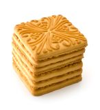 Dry biscuit. Isolated heap of dry biscuit on a white background stock image