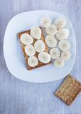 Dry biscuit with banana Royalty Free Stock Image