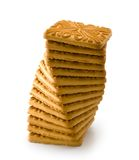Dry biscuit. Vertical composition. Isolated heap of dry biscuit on a white background. Vertical composition royalty free stock photos
