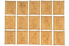 Dry biscuits. Some dry biscuits on a white surface Stock Photos