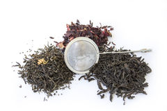 Dry black, red and green tea Royalty Free Stock Photography