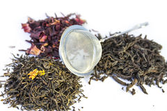 Dry black, red and green tea Royalty Free Stock Photos