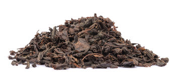 Dry black tea leaves isolated on white Royalty Free Stock Photos