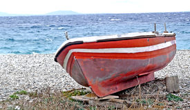 A dry boat on the island of Samos stock photography
