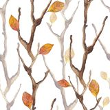 Dry branches and leaves. Seamless pattern 5 royalty free illustration