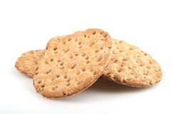 Dry bread. Pieces of dry bread crackers on a white background Royalty Free Stock Photos