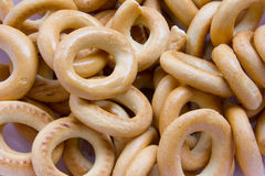 Dry bread-ring, sooshka. Food, sooshka,  yellow, candy, small ring-shaped cracker Stock Image