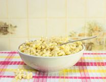 Dry breakfast. As asterisks in white bowl Stock Images
