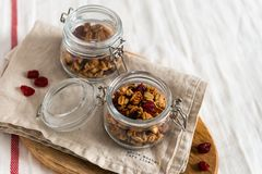 Dry breakfast cereals. Crunchy honey granola bowl with flax seeds, cranberries and coconut. Healthy, vegeterian fiber food. royalty free stock images