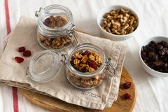 Dry breakfast cereals. Crunchy honey granola bowl with flax seeds, cranberries and coconut. Healthy, vegeterian fiber food. stock photo
