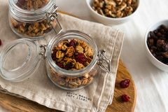 Dry breakfast cereals. Crunchy honey granola bowl with flax seeds, cranberries and coconut. Healthy, vegeterian fiber food. stock photography
