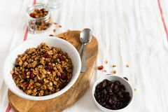 Dry breakfast cereals. Crunchy honey granola bowl with flax seeds, cranberries and coconut. Healthy, vegeterian fiber food. stock photos