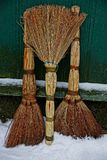Three brooms stand in the snow near the green wall. Dry brown brooms stand in the snow near the wooden wall Stock Photos