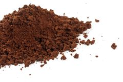 Brown instant coffee powder. Dry brown instant coffee powder, close up royalty free stock photo