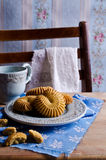 Dry brown pastry. Round shape pattern. Selective focus Stock Image