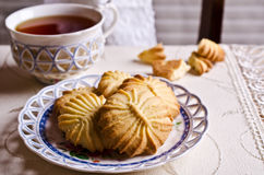 Dry brown pastry. Round shape pattern. Selective focus Royalty Free Stock Images