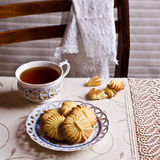 Dry brown pastry. Round shape pattern. Selective focus Stock Images