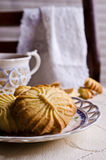 Dry brown pastry. Round shape pattern. Selective focus Royalty Free Stock Image